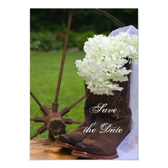 Rustic Hydrangea and Cowboy Boots Save the Date Card