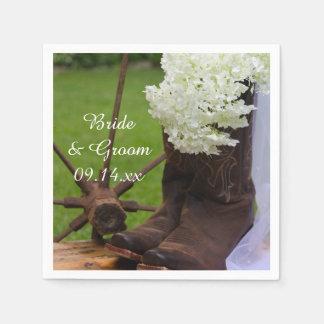Rustic Hydrangea and Cowboy Boots Western Wedding Napkin