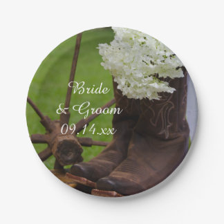 Rustic Hydrangea and Cowboy Boots Western Wedding Paper Plate