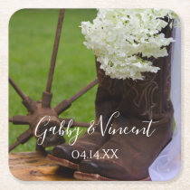 Rustic Hydrangea and Cowboy Boots Western Wedding Square Paper Coaster