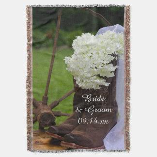 Rustic Hydrangea and Cowboy Boots Western Wedding Throw