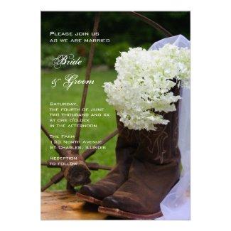 Rustic Hydrangea Country Wedding Invitation