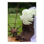 Rustic Hydrangea Cowboy Boots Bridal Shower Invite