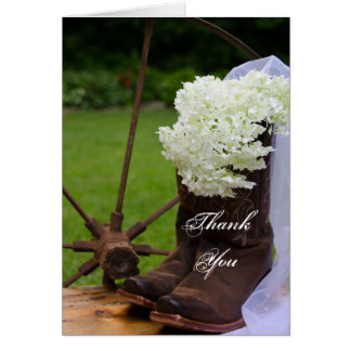 Rustic Hydrangea Cowboy Boots Bridesmaid Thank You Card