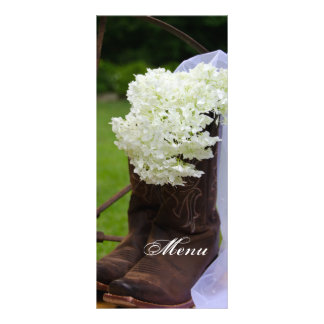 Rustic Hydrangea Cowboy Boots Country Wedding Menu