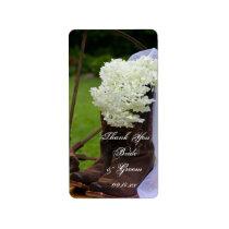 Rustic Hydrangea Cowboy Boots Wedding Thank You Label