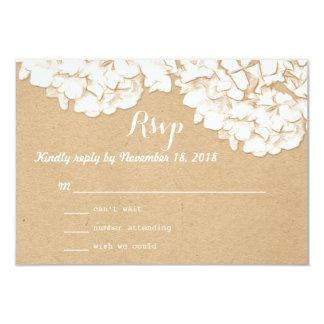 """Rustic Hydrangeas Floral Wedding RSVP 3.5"""" X 5"""" Invitation Card"""