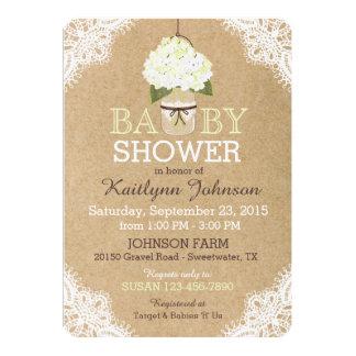 Rustic Hydrangeas Mason Jar Lace Kraft Baby Shower Card