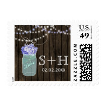 Rustic hydrangeas mason jar personalized stamps