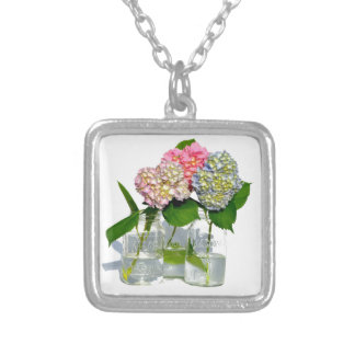 Rustic hydrangeas silver plated necklace