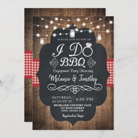 Rustic I Do BBQ Country Engagement Invitations