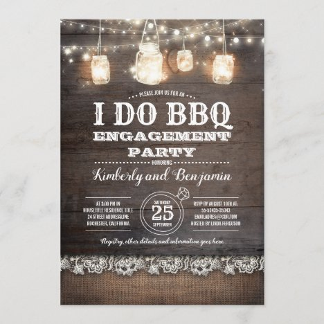 Rustic I DO BBQ Engagement Party Couples Shower Invitation