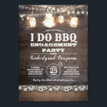 "Rustic I DO BBQ Engagement Party Couples Shower Invitation<br><div class=""desc"">I DO BBQ engagement party or couples shower invitations with rustic mason jar lights,  barn wood,  burlap,  and lace</div>"