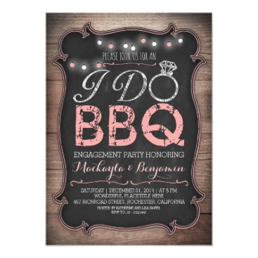 engagements rustic I do BBQ engagement party invitation