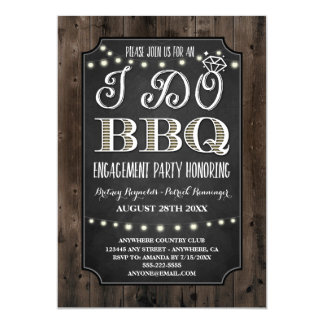 Rustic I Do BBQ Engagement Party Invitations