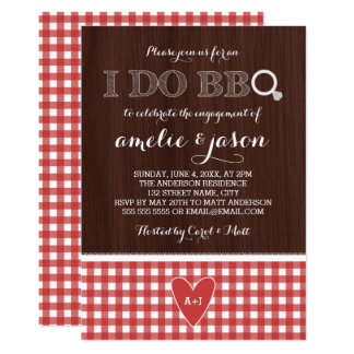 Rustic I Do BBQ Red Gingham Engagement Party Card