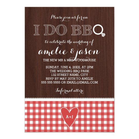 Rustic I Do BBQ Red Gingham Post Wedding Party Card ...