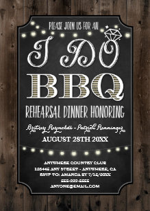 Rustic I Do BBQ Rehearsal Dinner Invitations