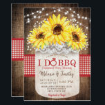 "Rustic I Do BBQ Sunflower Engagement Invitations<br><div class=""desc"">Rustic Mason Jar Boho Wood Lace Sunflower Wedding,  Engagement,  and Bridal Shower Invitations</div>"