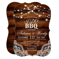 Rustic I DO BBQ Wood Invitation