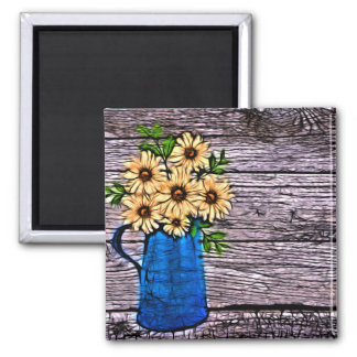 Rustic impressionism blue vase summer daisy magnet