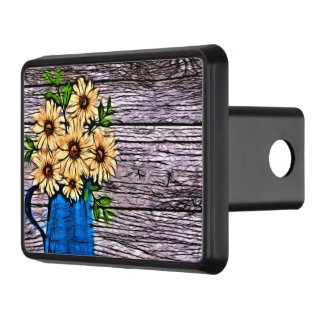 Rustic impressionism blue vase summer daisy tow hitch cover