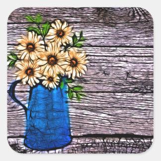 Rustic impressionism blue vase yellow daisy square sticker