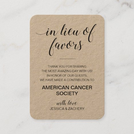 Rustic In Lieu Of Favors Charity Donation Wedding Place Card