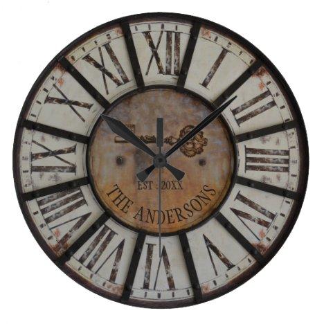Rustic Industrial Farmhouse Custom Family Name Large Clock