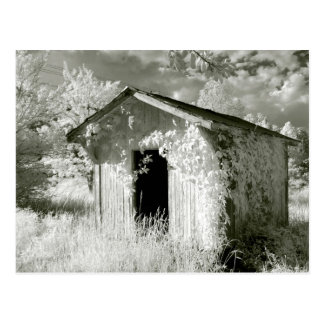 Rustic infrared shed postcard