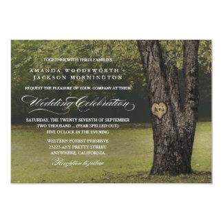 Rustic Initials Old Oak Tree Wedding Invitations