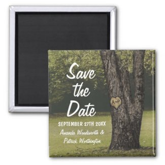 Rustic Initials Old Oak Tree Wedding Save the Date Magnet