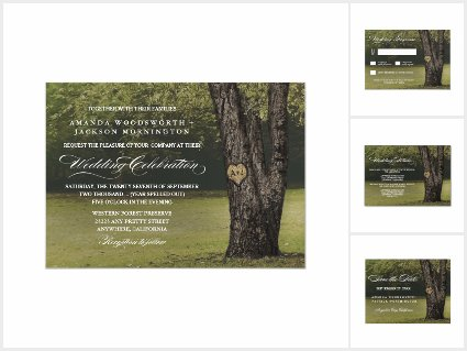 Rustic Initials Old Oak Tree Wedding Set