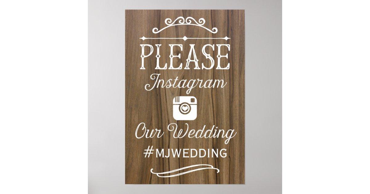 Rustic instagram hashtag sign wedding decor poster zazzle for Decor hashtags