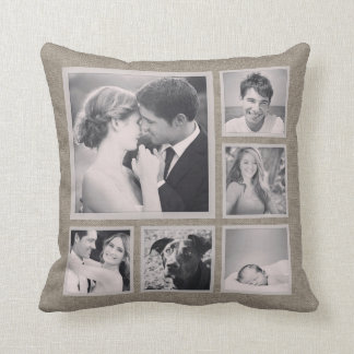 Rustic Instagram Photo Collage Throw Pillow