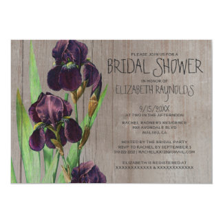 Rustic Iris Bridal Shower Invitations