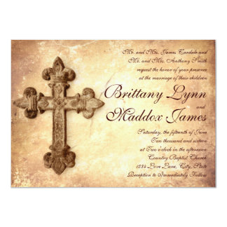 Rustic Iron Cross Distressed Wedding Invitations