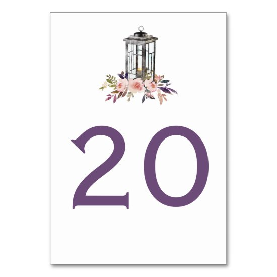 Rustic Iron Lantern Watercolor Flowers Table Cards