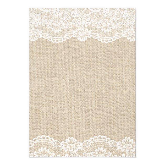 Rustic Ivory Burlap Lace Floral Mason Jar Wedding Card (back side)