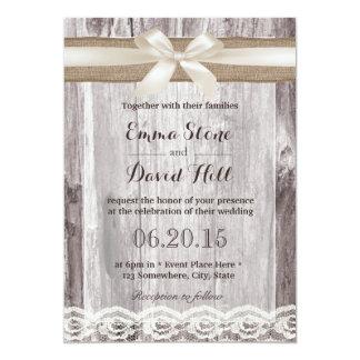 Rustic Ivory & Burlap Ribbon Laced Wood Wedding Card