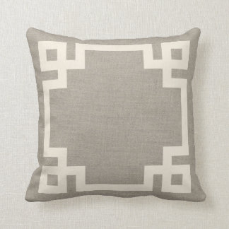 Rustic Ivory Greek Key Border Throw Pillows
