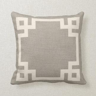 Rustic Ivory Greek Key Border Throw Pillow