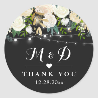 Rustic Ivory White Floral Monogram Wedding Favor Classic Round Sticker