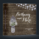 """Rustic Jar and Lavender Recipe Binder<br><div class=""""desc"""">Country rustic barn wood in dark brown with a Baby&#39;s Breath and Lavender filled jar and purple twinkle lights in the corner of this rustic theme recipe binder.  Perfect for bridal showers and new home welcome gifts,  this recipe binder can be personalized with names and date.</div>"""