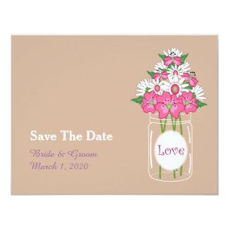 Rustic Jar Floral Wedding Save The Date Card