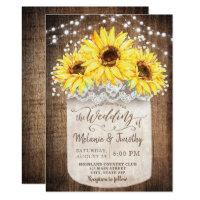 Rustic Jar Sunflower Wood Wedding Invitations