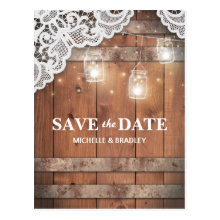 Rustic Jars Lace String Lights Save the Date Postcards