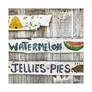 Rustic jellies and pies sign on canvas wall art