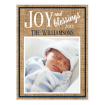 Rustic Joy Baby Photo First Christmas Card
