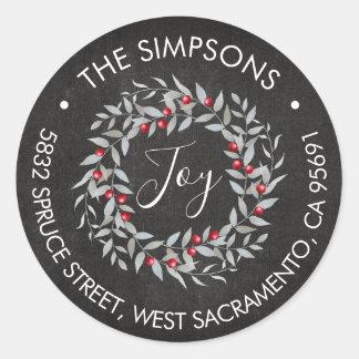 Rustic Joy Merry Christmas Wreath Name Address Classic Round Sticker